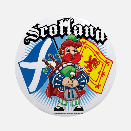 Scotland-Flags-and-Piper Round Ornament