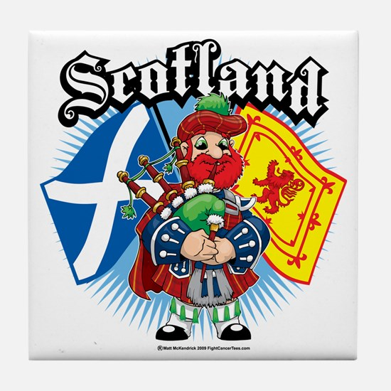 Scotland-Flags-and-Piper Tile Coaster