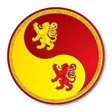 Scotland-Ying-Yang-red Round Car Magnet