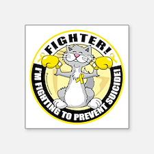 "Suicide-Cat-Fighter Square Sticker 3"" x 3"""