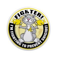 Suicide-Cat-Fighter Round Ornament