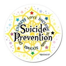 Suicide-Prevention-Lotus Round Car Magnet