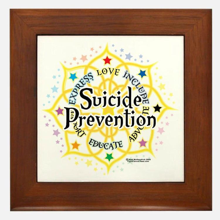 Suicide-Prevention-Lotus Framed Tile