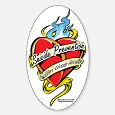 Suicide-Prevention-Tattoo-Heart Sticker (Oval)