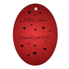 Heavy Red FH Personalized Oval Ornament