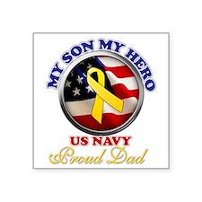 "prouddad_navy Square Sticker 3"" x 3"""