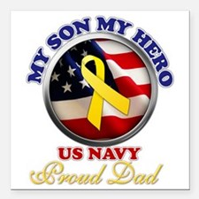 "prouddad_navy Square Car Magnet 3"" x 3"""