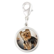 Yorkie Needs Training Mousepad Silver Round Charm