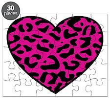 Leopard Heart Pink Puzzle