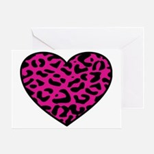 Leopard Heart Pink Greeting Card