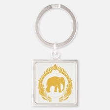 Thai-elephant-gold Square Keychain