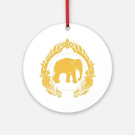 Thai-elephant-gold Round Ornament