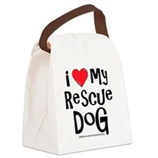 2-I love my rescue dog large Canvas Lunch Bag