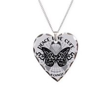 Lung-Cancer-Butterfly-Tribal Necklace Heart Charm