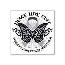 "Lung-Cancer-Butterfly-Triba Square Sticker 3"" x 3"""