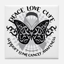 Lung-Cancer-Butterfly-Tribal Tile Coaster