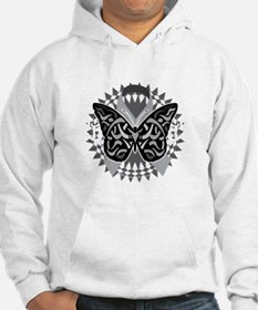 Lung-Cancer-Butterfly-Tribal-blk Hoodie