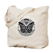Lung-Cancer-Butterfly-Tribal-blk Tote Bag