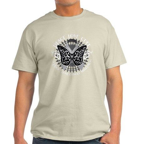 Lung-Cancer-Butterfly-Tribal-blk Light T-Shirt