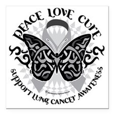 """Lung-Cancer-Butterfly-Tr Square Car Magnet 3"""" x 3"""""""