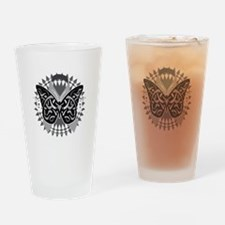 Lung-Cancer-Butterfly-Tribal-blk Drinking Glass
