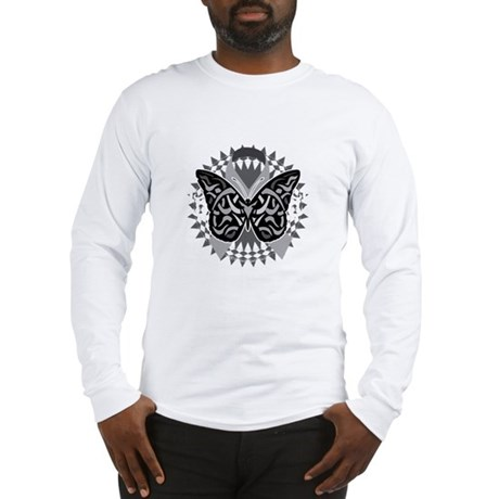 Lung-Cancer-Butterfly-Tribal-b Long Sleeve T-Shirt