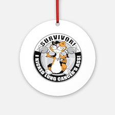Lung-Cancer-Cat-Survivor Round Ornament