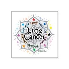 "Lung-Cancer-Lotus Square Sticker 3"" x 3"""