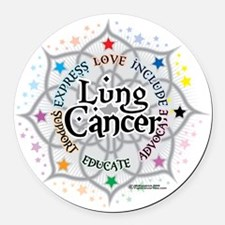 Lung-Cancer-Lotus Round Car Magnet