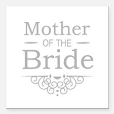 """Mother of the Bride silver Square Car Magnet 3"""" x"""