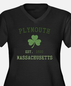 plymouth-mas Women's Plus Size Dark V-Neck T-Shirt