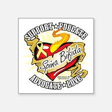 """Spina-Bifida-Classic-Heart Square Sticker 3"""" x 3"""""""