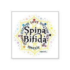 "Spina-Bifida-Lotus Square Sticker 3"" x 3"""