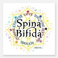 """Spina-Bifida-Lotus Square Car Magnet 3"""" x 3"""""""
