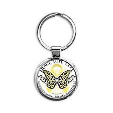 Spina-Bifida-Tribal-Butterfly Round Keychain