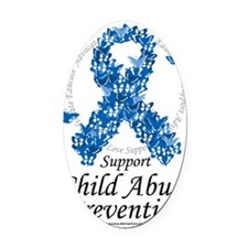 Child-Abuse-Ribbon-of-Butterflies Oval Car Magnet