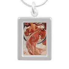 mucha-dance-large Silver Portrait Necklace