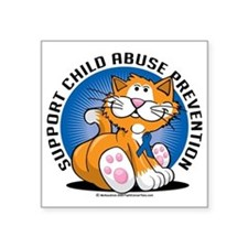 "Child-Abuse-Prevention-Cat Square Sticker 3"" x 3"""