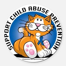 Child-Abuse-Prevention-Cat Round Car Magnet