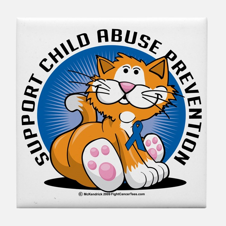 Child-Abuse-Prevention-Cat Tile Coaster