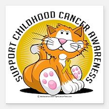 "Childhood-Cancer-Cat Square Car Magnet 3"" x 3"""