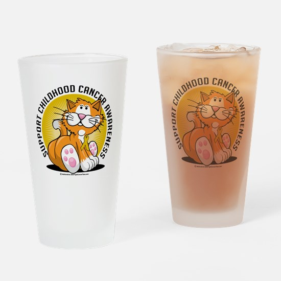 Childhood-Cancer-Cat Drinking Glass