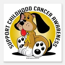 "Childhood-Cancer-Dog Square Car Magnet 3"" x 3"""