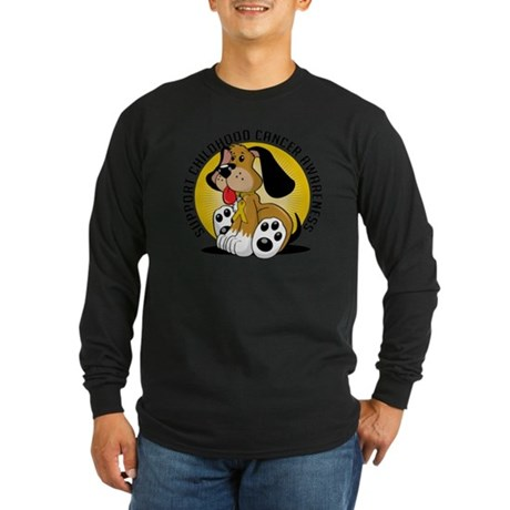 Childhood-Cancer-Dog Long Sleeve Dark T-Shirt