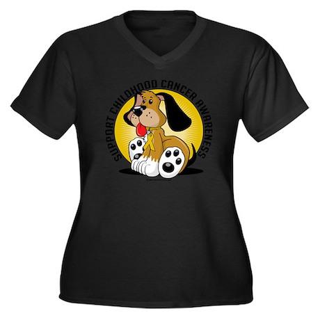 Childhood-Ca Women's Plus Size Dark V-Neck T-Shirt