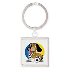 Down-Syndrome-Dog-blk Square Keychain