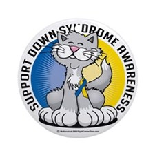 Paws-for--Down-Syndrome-Cat Round Ornament