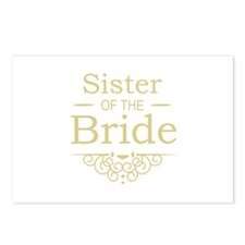 Sister of the Bride Gold Postcards (Package of 8)