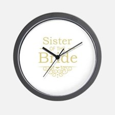 Sister of the Bride Gold Wall Clock