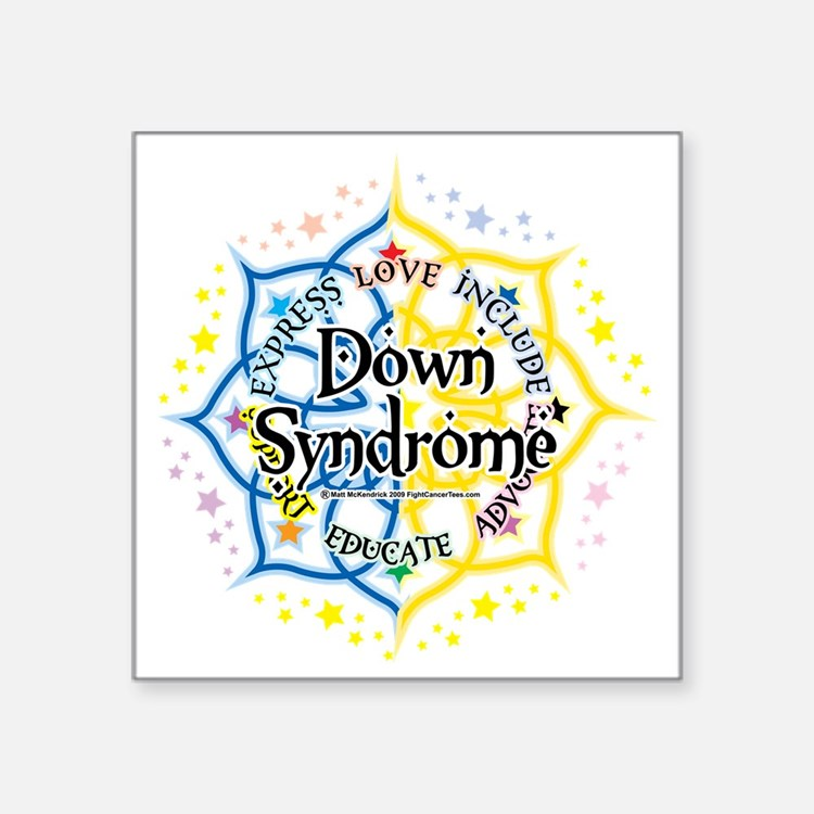 "Down-Syndrome-Lotus-2009 Square Sticker 3"" x 3"""